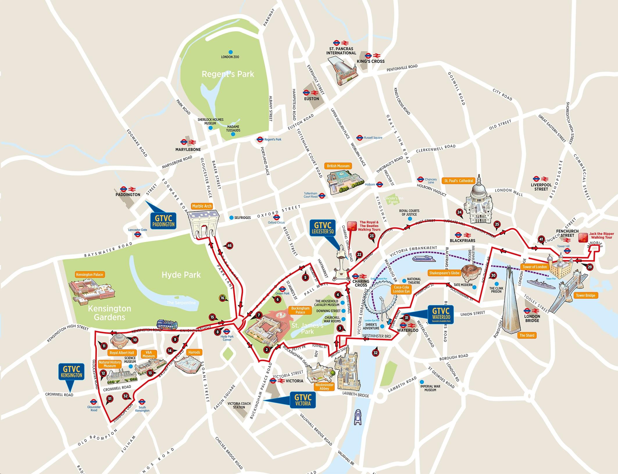 London Bus Tours Routes Maps Hop On Hop Off Plus