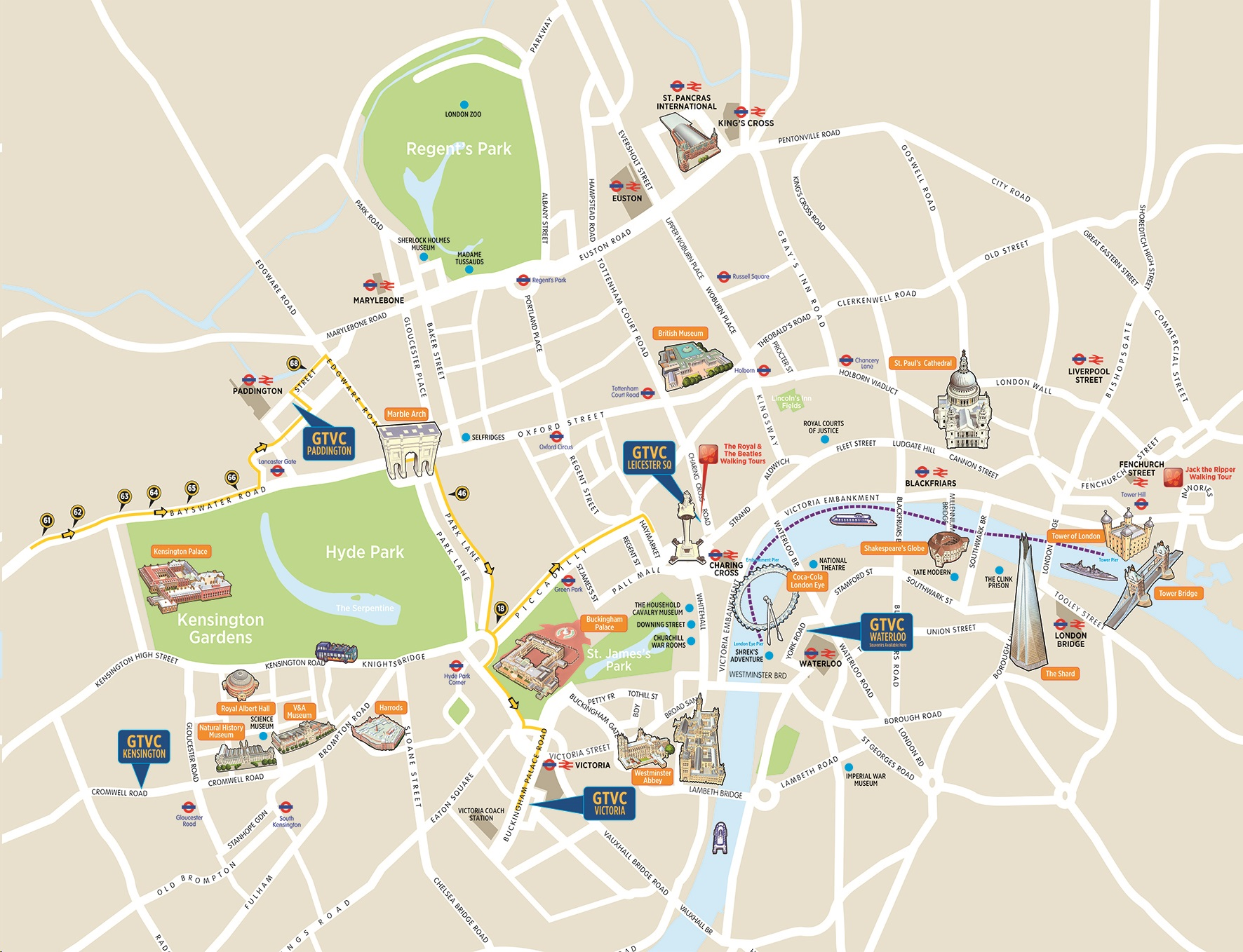Map Of London With Sights.London Bus Tours Routes Maps Hop On Hop Off Plus