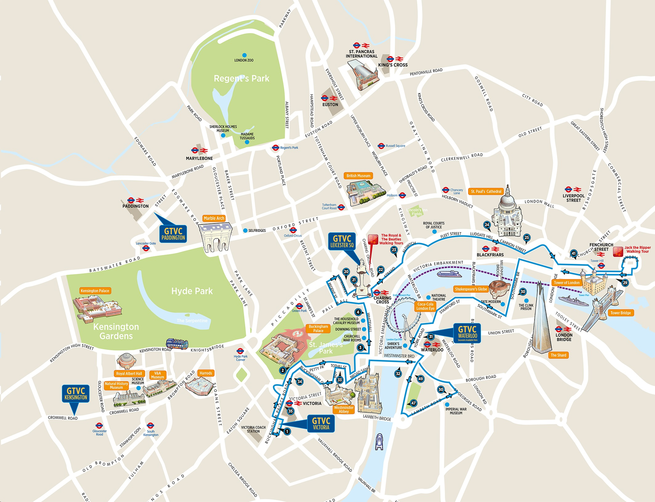 Sightseeing Map Of London.London Bus Tours Routes Maps Hop On Hop Off Plus